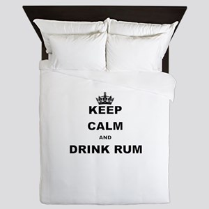 KEEP CALM AND DRINK RUM Queen Duvet