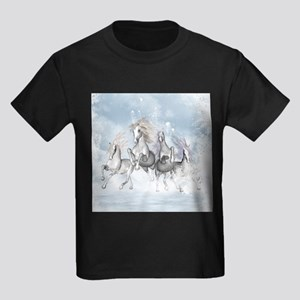Wonderful wild horses running in the snow T-Shirt