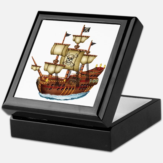 Pirate Ship with Stripes Keepsake Box