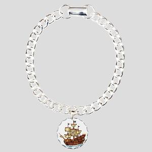 Pirate Ship with Stripes Charm Bracelet, One Charm