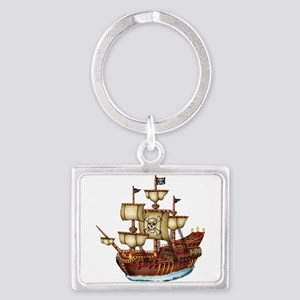 Pirate Ship with Stripes Landscape Keychain
