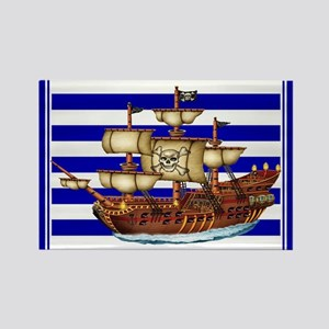 Pirate Ship with Stripes Rectangle Magnet
