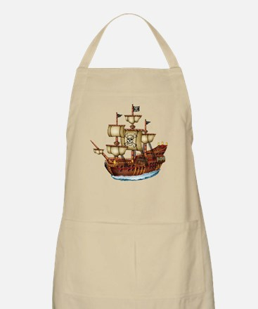 Pirate Ship with Stripes Apron