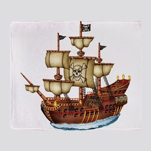 Pirate Ship with Stripes Throw Blanket