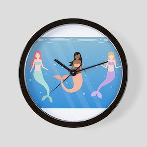 mermaid squad Wall Clock