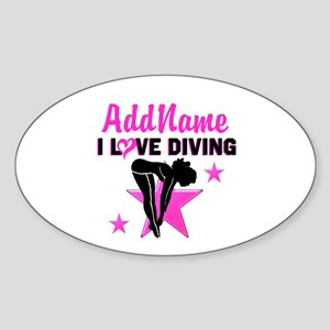 LOVE TO DIVE Sticker (Oval)