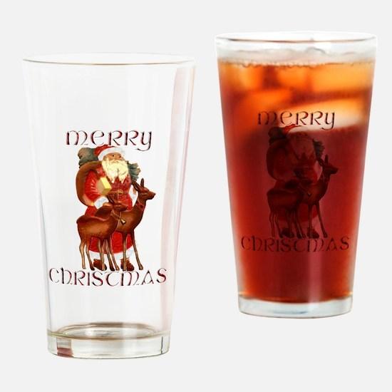 Santa and Reindeer design Drinking Glass