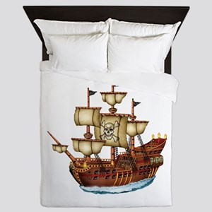 Pirate Ship With Stripes Queen Duvet