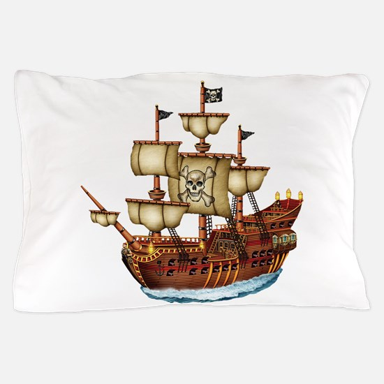 Pirate Ship with Stripes Pillow Case