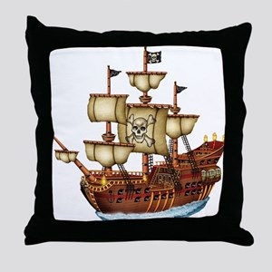 Pirate Ship with Stripes Throw Pillow