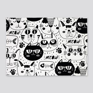 Cat Faces 5'x7'Area Rug