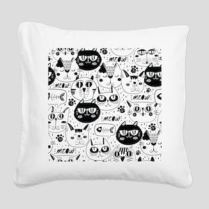 Cat Faces Square Canvas Pillow