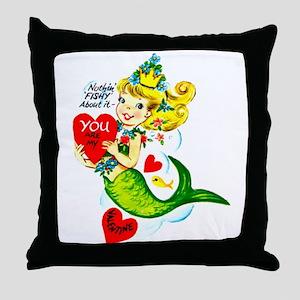 Mermaid Valentine Throw Pillow