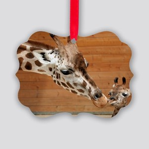 Kissing giraffes Picture Ornament