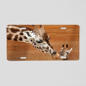 Kissing giraffes Aluminum License Plate