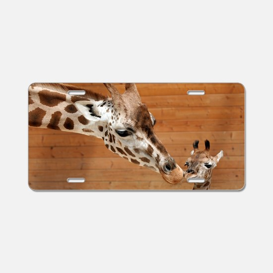 Kissing giraffes Aluminum License Plate