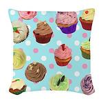 CupcakesPolkaDots Woven Throw Pillow