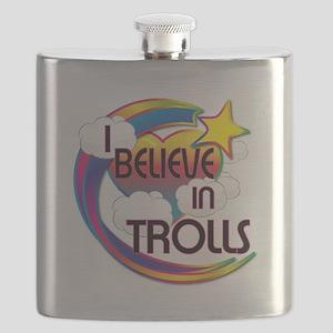 I Believe In Trolls Cute Believer Design Flask