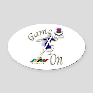 Scotland runner game on Oval Car Magnet