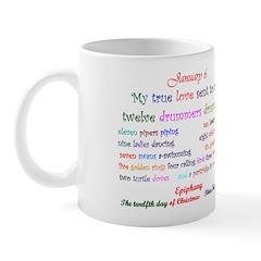 Mug: My true love sent to me twelve drummers drumm