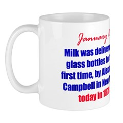 Mug: Milk was delivered in glass bottles for the f