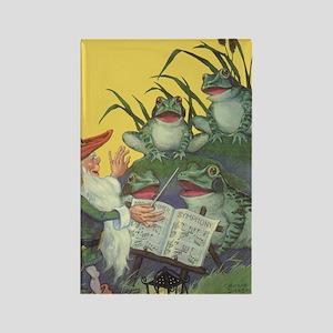 Vintage Frog Choir Singing Rectangle Magnet
