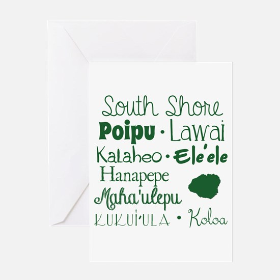 South Shore Kauai Subway Art Greeting Cards