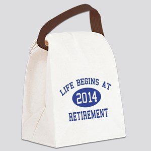 Life begins at 2014 Retirement Canvas Lunch Bag