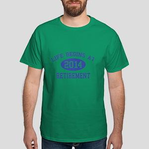 Life begins at 2014 Retirement Dark T-Shirt
