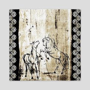 Rustic Equine Art Rearing Horses Queen Duvet