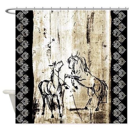 rustic bathroom shower curtains rustic equine rearing horses shower curtain by 20271