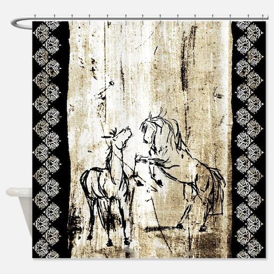 Rustic Equine Art Rearing Horses Shower Curtain