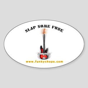 FUNKYCHOPS.COM Slap Bass Guitar Oval Sticker