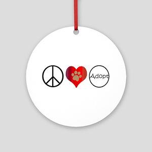 Peace Love Adopt Ornament (Round)