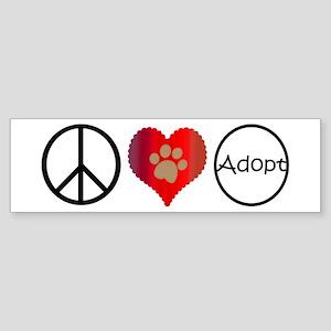Peace Love Adopt Bumper Sticker