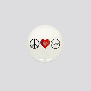 Peace Love Adopt Mini Button