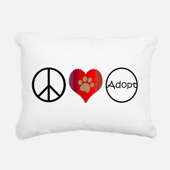 Peace Love Adopt Rectangular Canvas Pillow