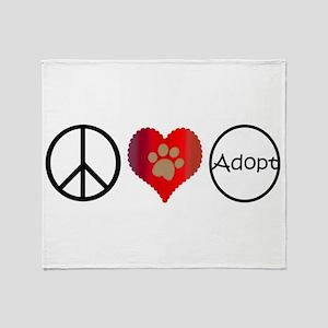 Peace Love Adopt Throw Blanket