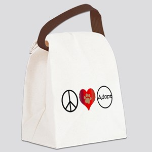 Peace Love Adopt Canvas Lunch Bag