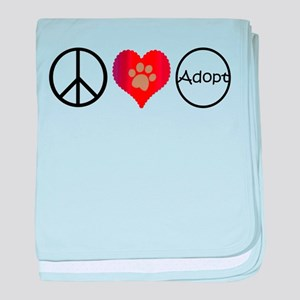 Peace Love Adopt baby blanket