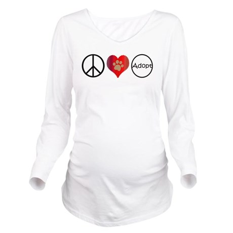 Peace Love Adopt Long Sleeve Maternity T-Shirt