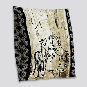 Rustic Equine Art Rearing Horses Burlap Throw Pill