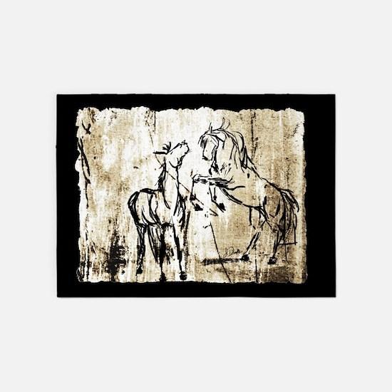 Rustic Equine Art Rearing Horses 5'x7'Area Rug