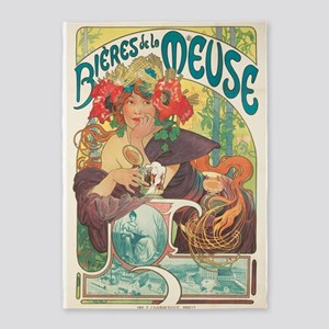 Meuse, Mucha,Beer, Vintage Poster 5'x7'Area Rug