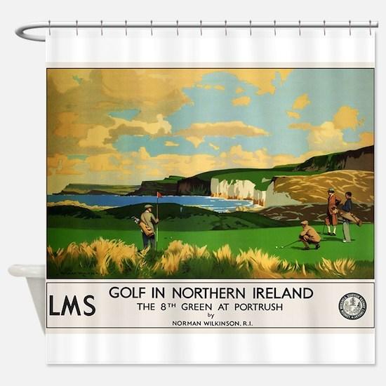 Northern Ireland, Golf, Vintage Poster Shower Curt
