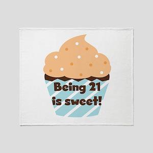 Being 21 is Sweet Birthday Throw Blanket