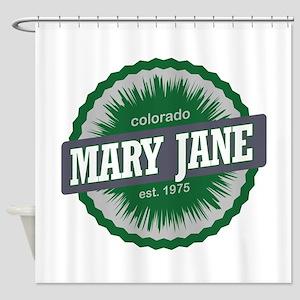 Mary Jane Ski Resort Colorado Green Shower Curtain