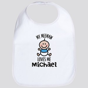 Meemaw Loves Me Personalized Boys Baby Bib