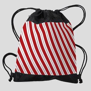 Red Candy Stripe Pattern Drawstring Bag