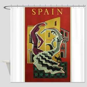 Spain,Flamenco, Travel, Vintage Poster Shower Curt